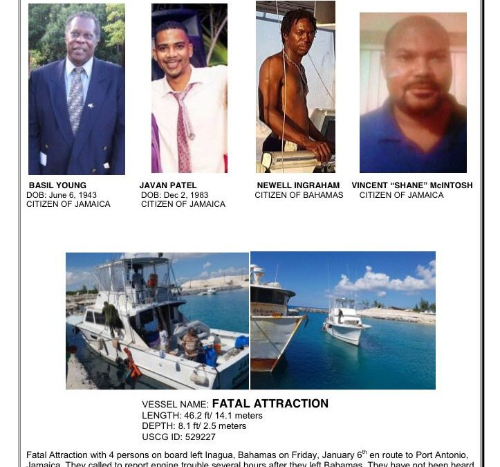 Four Missing At Sea Bahamas to Jamaica