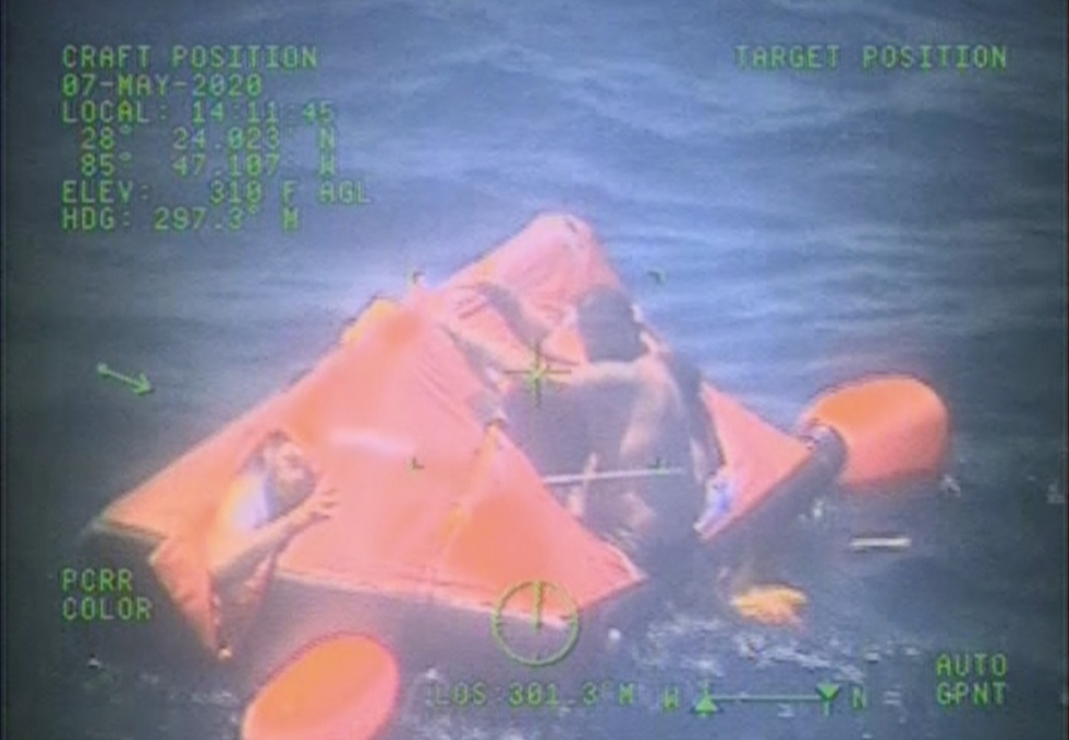 USCG Rescues Three People & Dog From Liferaft off Apalachicola, Florida