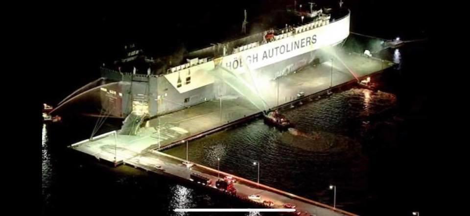 Cargo Ship On Fire Jacksonville FL Firemen Injured