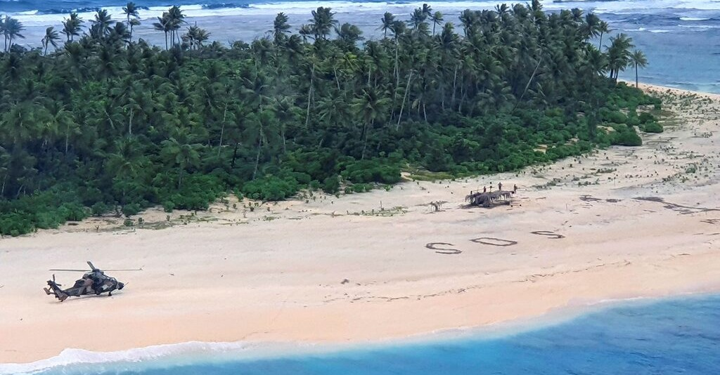 Three Men Rescued On Island In South Pacific From SOS In Sand