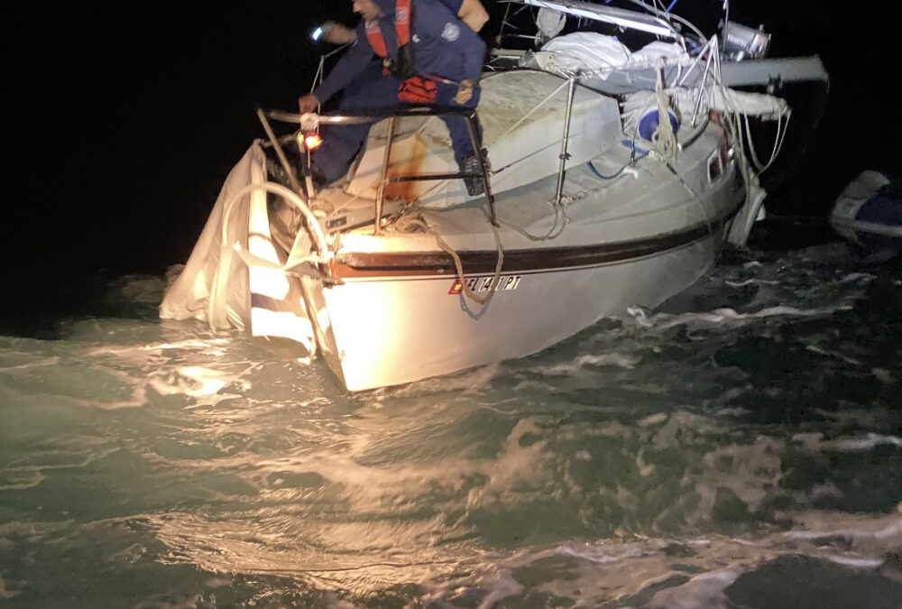 USCG Rescues 2 off SV White Pearl Sixty Miles NW of Marathon, Florida