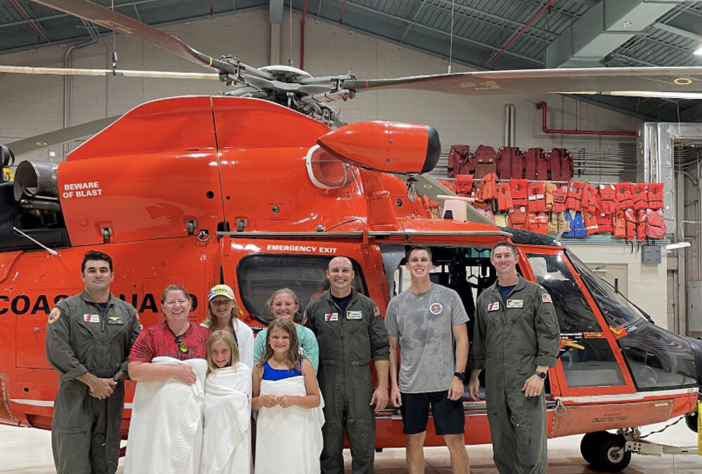 USCG 5 Rescues 5 from Otter Island and F/V Rescues Captain in the Water, South Carolina
